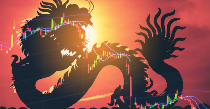 China stock market price graph display. Dragon as background means China economy concept. Stock market graph showing down economy. Failure in China business. Economic crisis stock market hit floor.